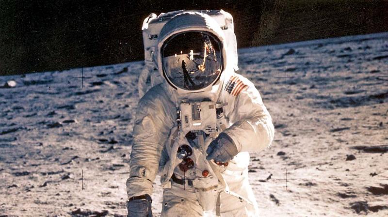 """In this image from Nasa, US Astronaut Edwin """"Buzz"""" Aldrin is shown walking near the lunar module on July 20, 1969, during the Apollo 11 space mission."""