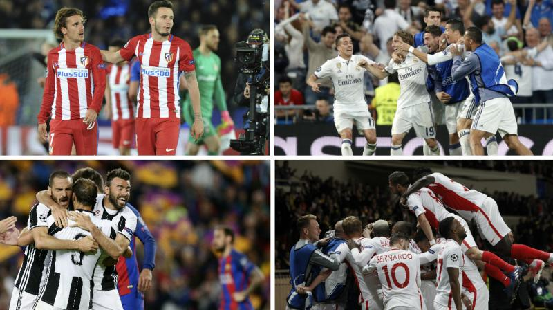 Real Madrid will host Atletico Madrid at the Santiago Bernabeu on May 2 and Monaco are home to Italian champions Juventus on May 3, with the second legs the following week. (Photo: AP)