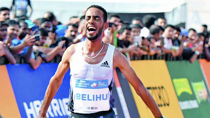 Andamlak Belihu of Ethiopia emerged winner at World 10K run in Bengaluru on Sunday.  (SAMUEL RAJKUMAR)