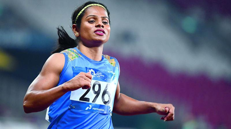 Dutee Chand is the only Indian athlete to win a gold medal in the 100m race at the global event. (Photo:AFP)
