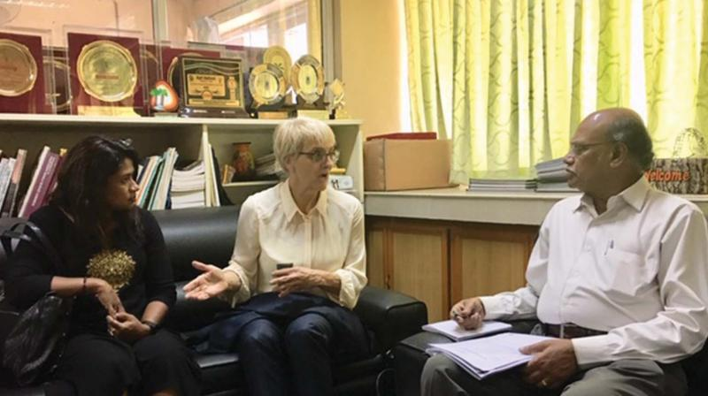 Dr. Lynda Taylor, pro-vice-chancellor of WSU and  Dr. Nisha Rakesh, research development advisor interact with KAU vice-Chancellor  Dr R. Chandra Babu at the university.