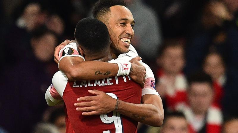 The tie was still balanced on a knife edge, however, before Gabon striker Aubameyang's 90th-minute volley put his side in control ahead of the second leg in Valencia's Mestalla. (Photo: AFP)