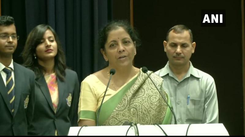 Unperturbed by the distraction, Sitharaman delivered her full speech. (Photo: ANI)