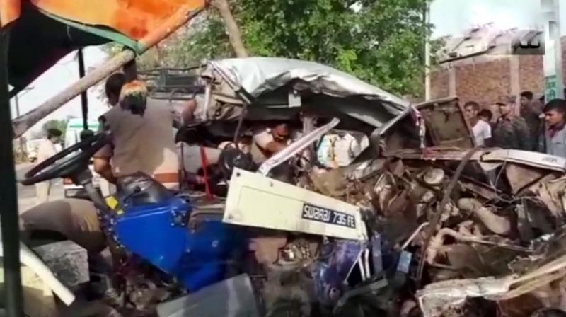 The sand-landed tractor-trolley hit the overloaded jeep ferrying the family of 20 from Gwalior to Morena to attend the last rites of their relative at a cross road near Ganjrampur village. (Photo: Twitter | ANI)