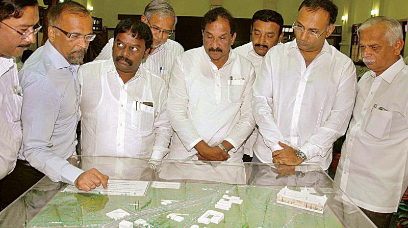 Before the walkout: Bengaluru MLAs and MPs during a meeting convened by minister K. J. George about the controversial steel flyover at Vidhana Soudha in Bengaluru on Tuesday (Photo:DC)