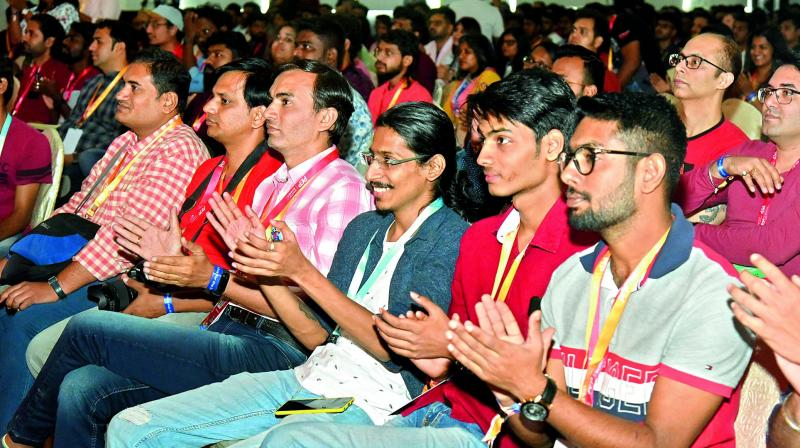 Enthusiastic audience enjoy the summit