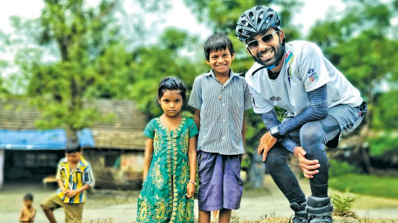 Rana Uppalapati has reached Chennai after covering the 6,000 kms of the Golden Quadrilateral.