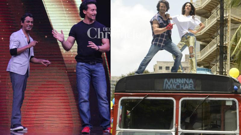 The team of 'Munna Michael' had an interesting promotional strategy as they promoted the film on a top of a bus and also on a reality show in Mumbai on Monday. (Photo: Viral Bhayani)