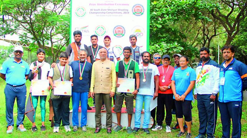 Medal winners at the XI South Zone Shooting Championships in Shotgun events held in Hyderabad.