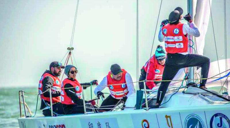 Hyderabad's Ananya Chouhan and her team compete in the J80 Asian Championship held in Qingdao Olympic Sailing Centre in Qingdao, China.