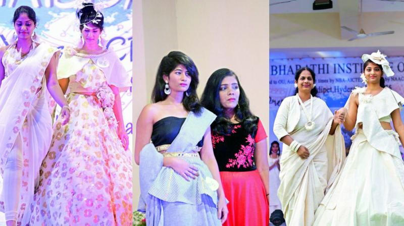 This  event saw students walk the ramp in some innovative khadi designs.