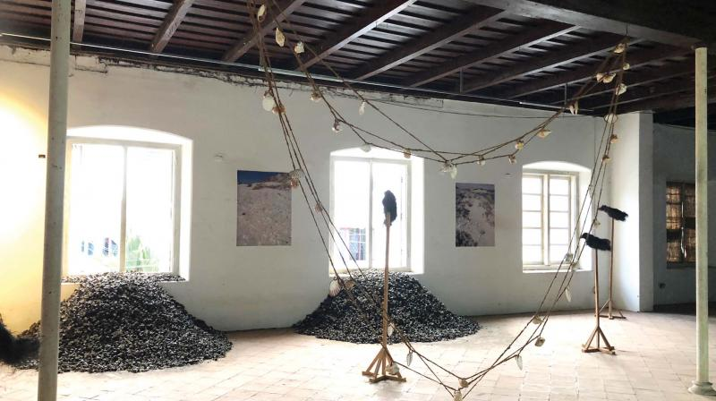 Julie's installation Distance is a state of mind on display at Pepper House, Fort Kochi