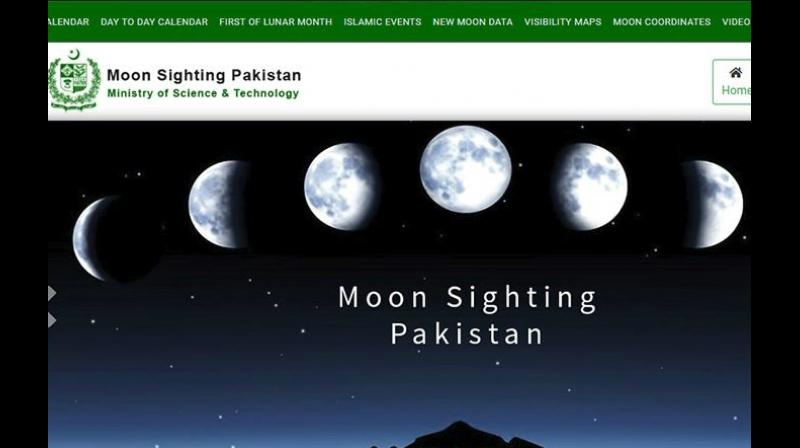 The website 'pakmoonsighting .pk' was inaugurated on Sunday, two weeks after Federal Minister for Science and Technology Fawad Chaudhry made an announcement regarding the preparation of a scientific lunar calendar. (Photo: Screenshot)