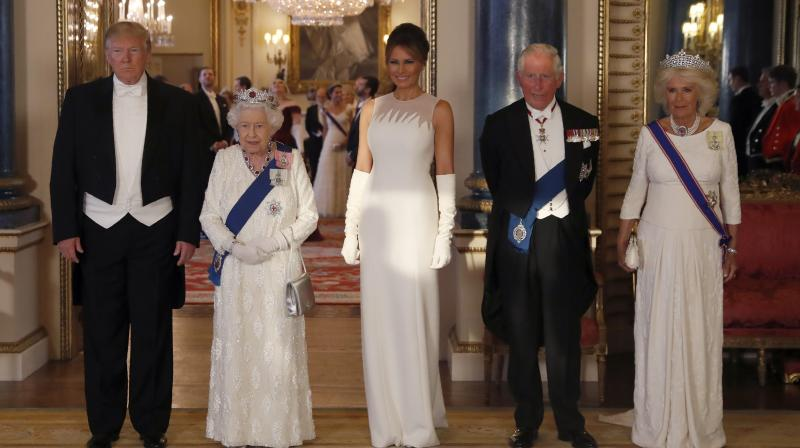 Queen Elizabeth II recited a warm speech eulogizing the relationship between the two nations and added that she was 'delighted to welcome' President Trump to the Palace. (Photo: AP)
