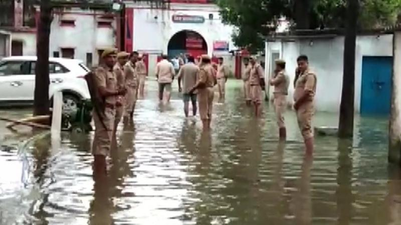 The jail building is in a dilapidated condition and officials said water-logging inside it is not new. (Photo: ANI | Twitter)