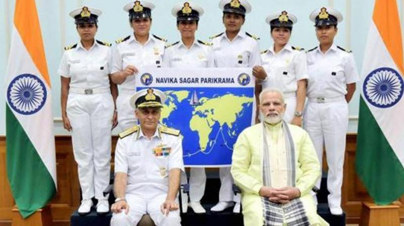 Prime Minister Narendra Modi with the six women officers of the Indian Navy who are expedition of circumnavigating the globe on the sailing vessel INSV Tarini in New Delhi on August 16, 2017. (Photo: PTI | File)