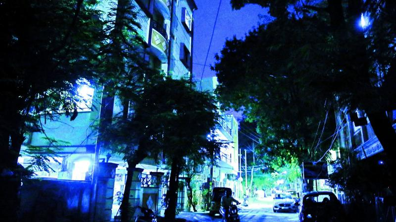 Street lights not working at many places in Hyderabad. (Photo: S. surender Reddy)
