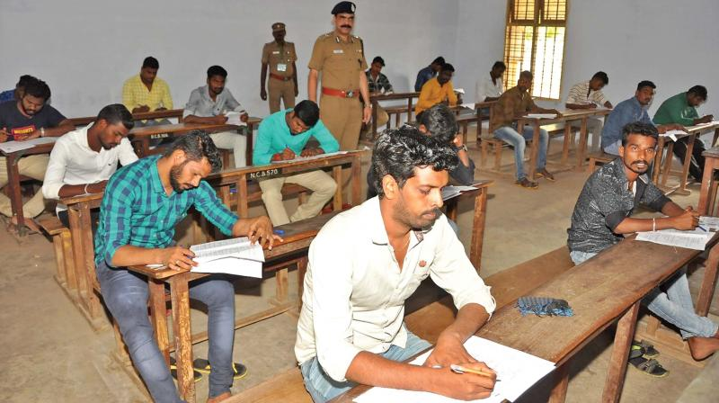 28,375 aspirants appeared in the written test at 23 centres for the grade two constable recruitment, prison department and fire, and rescue services department in the central districts of Tiruchy.