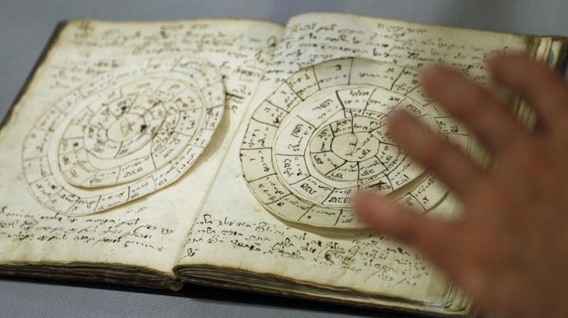 A manuscript that includes astronomical calculators is displayed at the YIVO Institute for Jewish Research in New York, Tuesday, Oct. 24, 2017. This document along with more than 170,000 other pages are part of a recently discovered trove of Jewish materials from Lithuania thought to have been destroyed during the Holocaust. (Photo: AP)