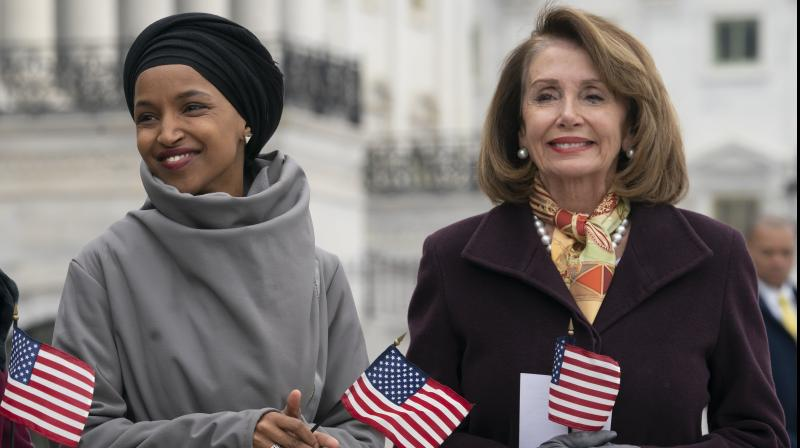 Nancy Pelosi took time out from an official trip to issue a strong statement urging Trump to remove the clip featuring Minnesota congresswoman Ilhan Omar. (Photo:AP)