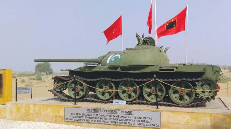 The T-59 Tank, one among the 37 Pakistani tanks destroyed in the night of December 4 / 5, 1971, Longewala Battle, by the 23rd Punjab regiment and IAF, on display at the site museum.