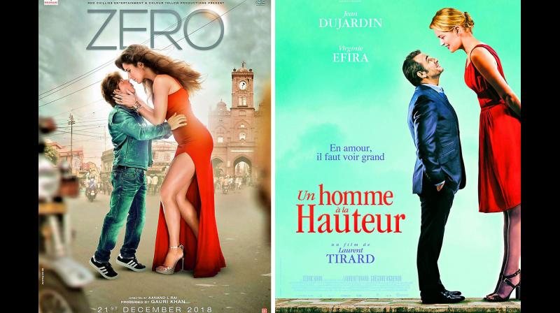 The second poster featuring Katrina Kaif and Shah Rukh has landed in soup for its similarities to the poster of French film Un Homme a la Hauteur.