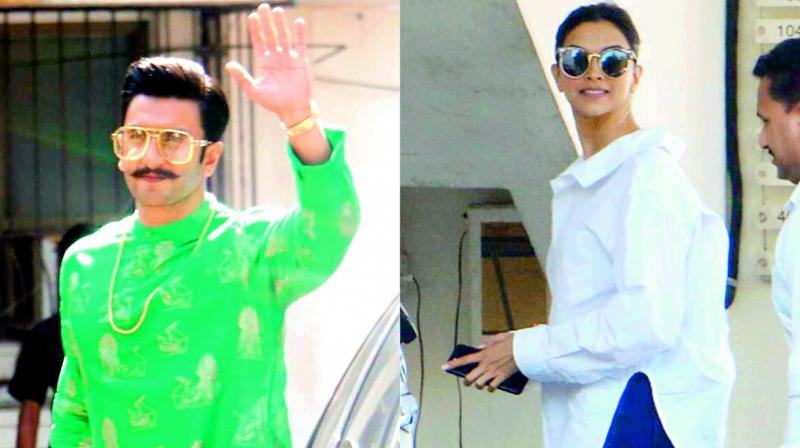 Ranveer Singh and Deepika Padukone spotted at Sanjay Leela Bhansali's residence on Diwali.