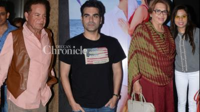 Arbaaz Khan hosted a special screening of his upcoming release 'Tera Intezaar' for his family in Mumbai on Wednesday. (Photo: Viral Bhayani)