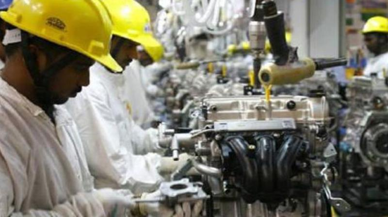 Industrial production growth slipped to a three-month low of 4.3 per cent in August mainly due to a sharp decline in the mining sector output and poor offtake of capital goods, according to the Central Statistics Office (CSO) data. (Photo: PTI)