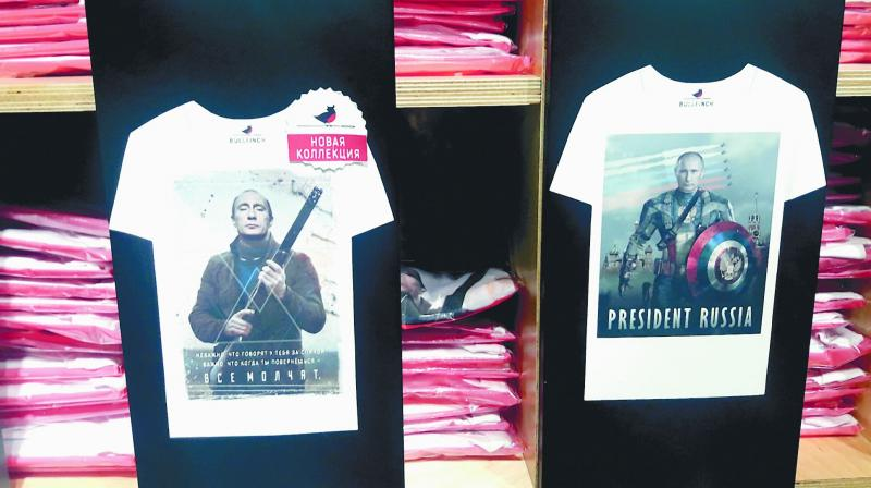 T-shirts on sale in Moscow with Putin as Captain America.