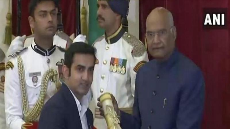 Former Indian cricketer Gautam Gambhir received Padma Awards from President Ram Nath Kovind (Image: ANI)