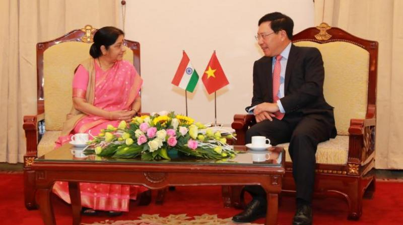 Sushma Swaraj co-chaired the 16th meeting of the Joint Commission along with the Vietnamese foreign minister. (Photo: Twitter | @AmbHanoi)