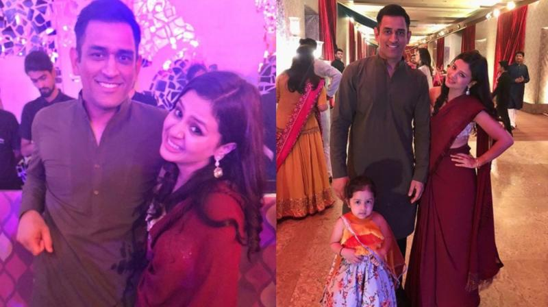 The Dhonis once again stole the show as the trio attended Praful Patel's daughter Poorna Patel's mehendi ceremony in Mumbai recently. (Photo: Instagram / Sakshi Dhoni)