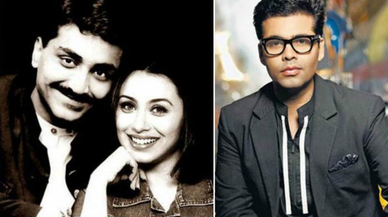 Rani Mukerji with Aditya Chopra, Karan Johar in a photoshoot.