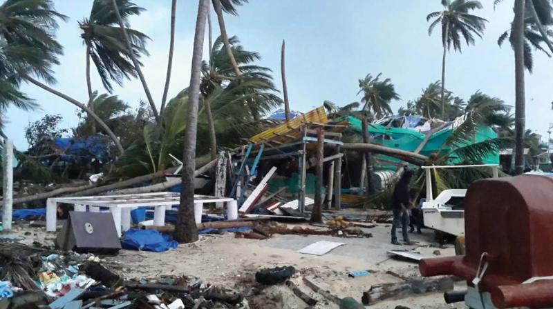 A heavily battered Minicoy island in Lakshadweep after cyclone Ockhi devasted the area on Saturday.