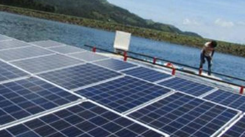 The floating  solar power plant at Banasura Sagar Dam, Wayanad.