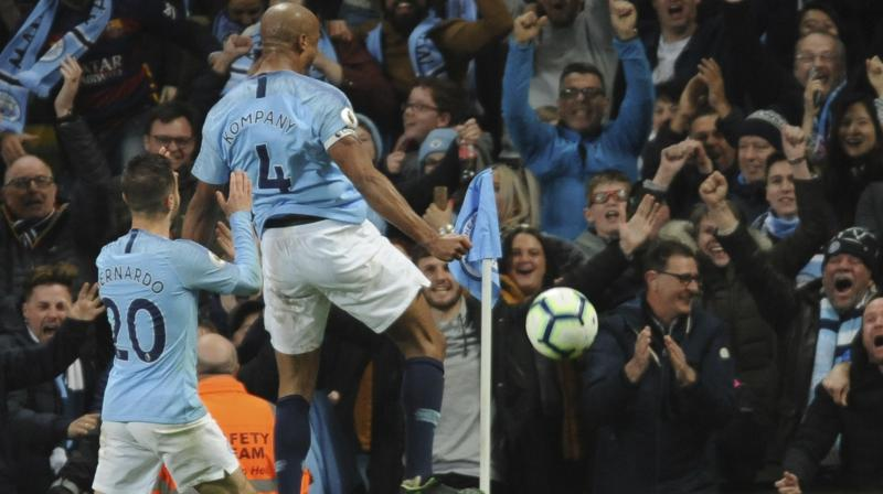 Just as Liverpool were close to giving up two points, so City flirted with frustration before Vincent Kompany blasted in a 25-metre winner in the 70th minute against Leicester City. (Photo: AP)