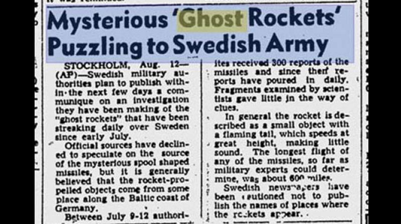 In 1946 just one year after the Second World War ended another wave of UFO sightings was witnessed, this time in Europe over the Scandinavian countries where they were called Ghost Rockets.