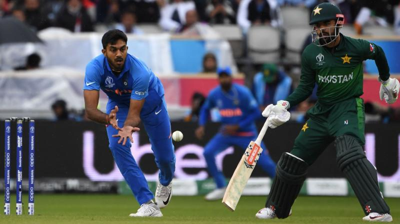 Imad Wasim (46) and Shadab Khan (20) remained unbeaten to end at 212 for six, handing India a comprehensive victory via Duckworth Lewis method. (Photo:AFP)