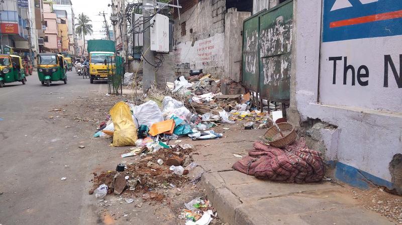 A big pile of garbage on a footpath at Tavarekere (Image DC)
