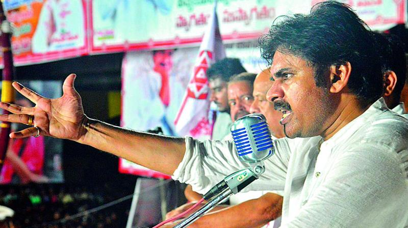 Jana Sena chief Pawan Kalyan addresses the public meeting at Tuni in East Godavari on Friday.  (DC)