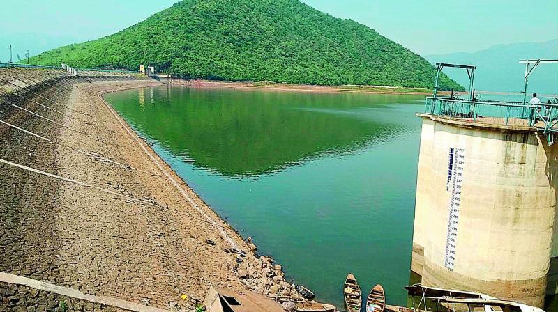 Depleting water level at Thatipudi reservoir in Vizianagaram district. (DC)
