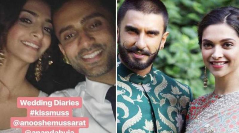 Sonam Kapoor with Anand Ahuja at a wedding (Photo: Instagram); Ranveer Singh with Deepika Padukone during their movie promotions (Photo: File)