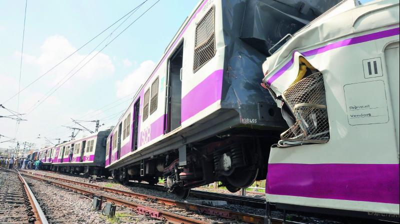 The mangled remains of the MMTS train after it collided with the Hundry Intercity Express at Kacheguda railway station on Monday (Photo: DC)