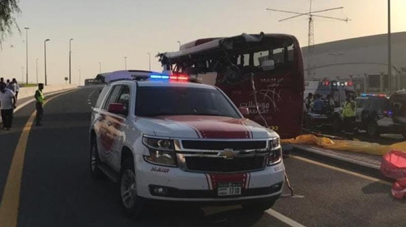The bus, carrying 31 passengers, crashed into a height barrier, which slashed the rear window, cut into the left side of the bus and killed passengers sitting on that side, the Gulf News reported. (Photo: Dubai Police | Twitter)
