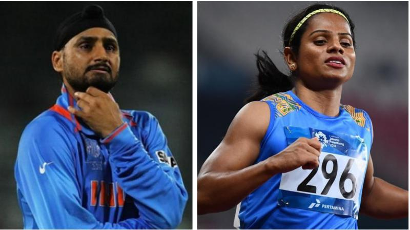 Indian sprinter Dutee Chand's nomination for Arjuna award and cricketer Harbhajan Singh's nomination for Khel Ratna award were rejected by the Ministry of Youth Affairs and Sports. (Photo:AFP)