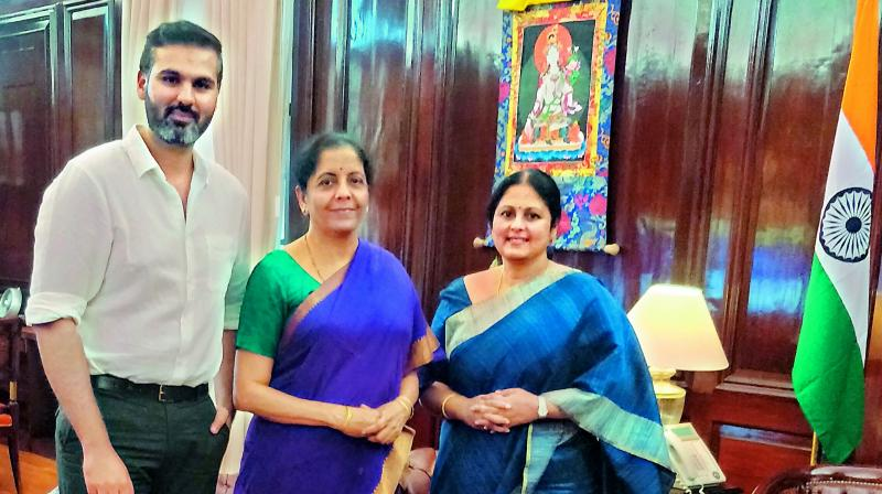 Jayasudha and her son Shreyan Kapoor with Nirmala Seetharaman.