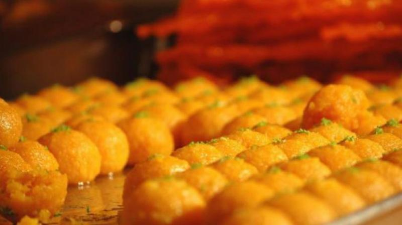 Mohsin bin Mohammed of Huma Sweets at Chandrayangutta Cross Road said they are preparing special laddus to be offered at Ganesha Mandali.