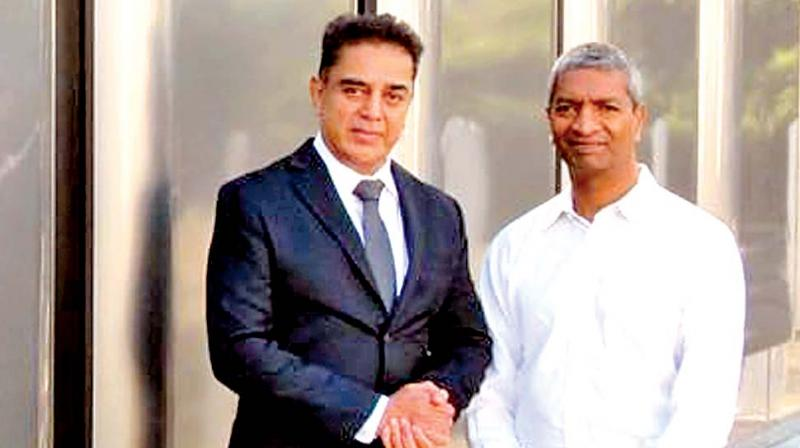 Actor Kamal Haasan with Dr K.R. Sridhar, founder and CEO, Bloom Energy, in Sunnyvale, California.  	—DC