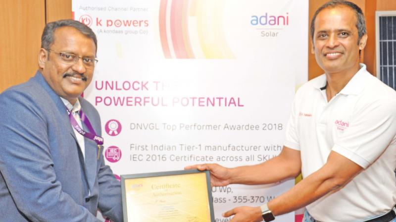 Ramesh Nair, CEO,  Adani Solar,  launches its retail sales in Tamil Nadu at an event in Coimbatore.